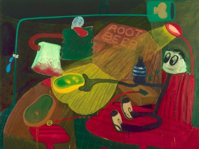 Peter Saul, Businessman n°6, 1963, collection MAC VAL - Musée d'art contemporain du Val-de- Marne, huile sur toile, 160 x 189 x 3 cm © Peter Saul; photo: Jacques Faujour