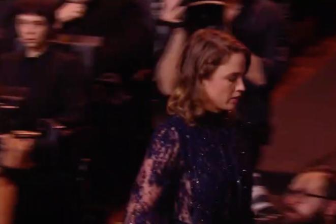 Capture d'écran d'Adèle Haenel lors de la retransmission de Canal +.