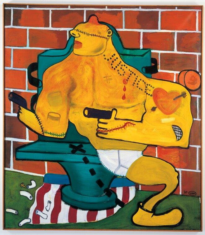 Peter Saul, Criminal being executed n° 2, 1964, huile sur toile, 171,5 x 151,5 x 4 cm. Collection du Frac des Pays de la Loire, © Peter Saul; photo: Bernard Renoux