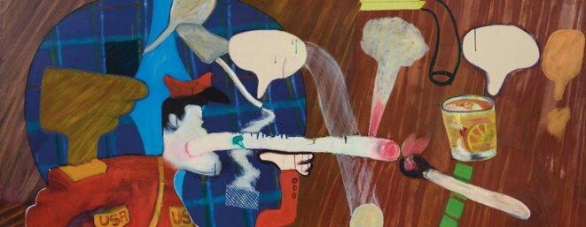 """Peter Saul, """"Officer's club"""" (détail), 1963, huile sur toile, 190 x 191 cm, Collection Fondation Gandur pour l'art, Genève © Peter Saul, courtesy: Fondation Gandur pour l'art, Genève"""