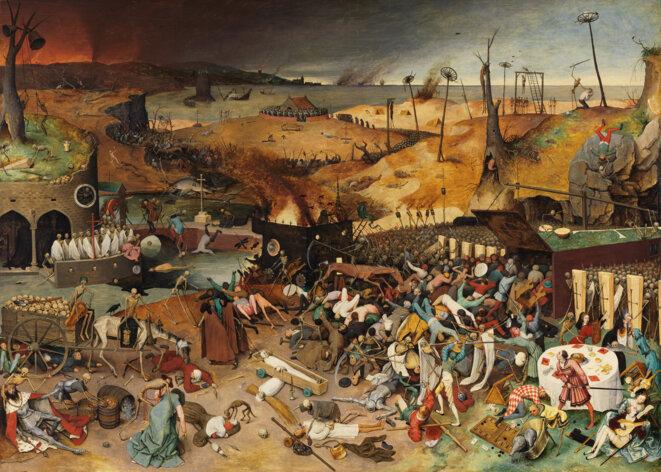 """""""le Triomphe de la mort"""" (1562) peint par Brueghel l'Ancien. Musée du Prado à Madrid"""