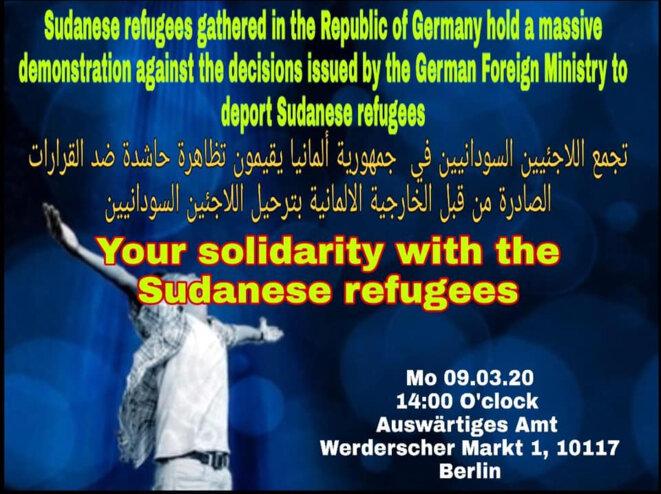 Affiche d'appel à manifestation en trois langues.