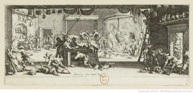 """""""Les grandes misères de la guerre. Le pillage d'une ferme"""". Estampe de Jacques Callot, 1633. Source: www.gallica.bnf.fr © Jacques Callot"""