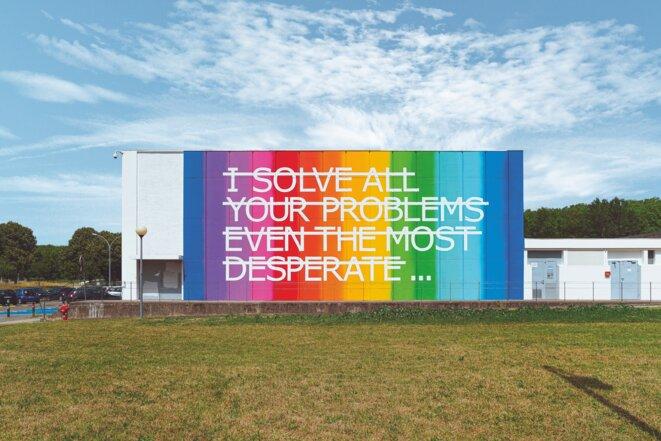 RERO, «I solve all your problems even the most desperate...»  Acrylique sur mur 20m x 7m 118, route de Narbonne 31400 Toulouse © Rose Béton; Photo: Benjamin Roudet
