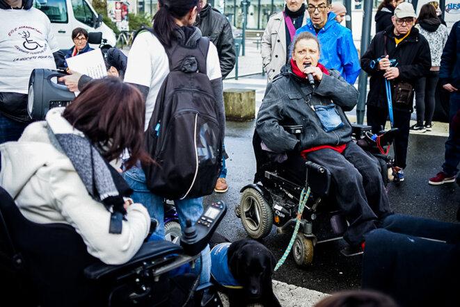 Manifestation pour l'inclusion des personnes handicapées, le 8 février. © Vernault Quentin/NurPhoto