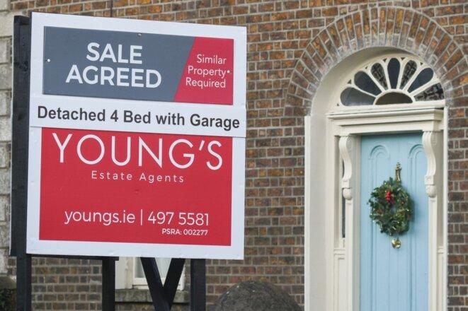 Une propriété à vendre à Dublin, le 30 décembre 2019. © ARTUR WIDAK / NURPHOTO