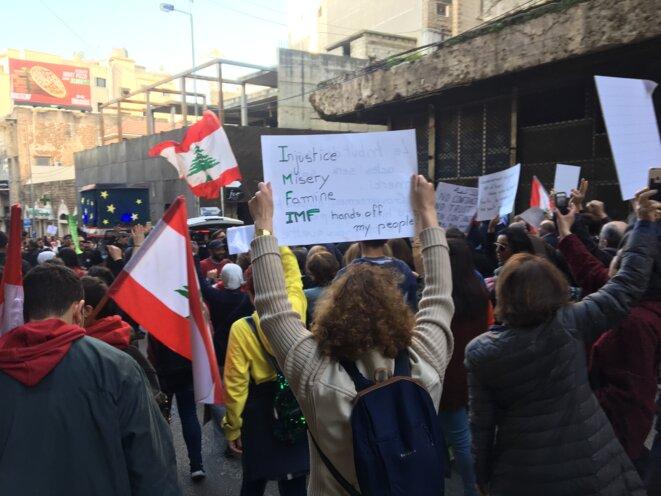 Manifestation à Beyrouth, le 15 février. © NM