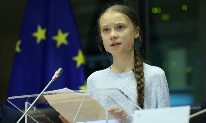 Greta Thunberg face à la commission Environnement du Parlement européen, le 4 mars 2020. © AFP