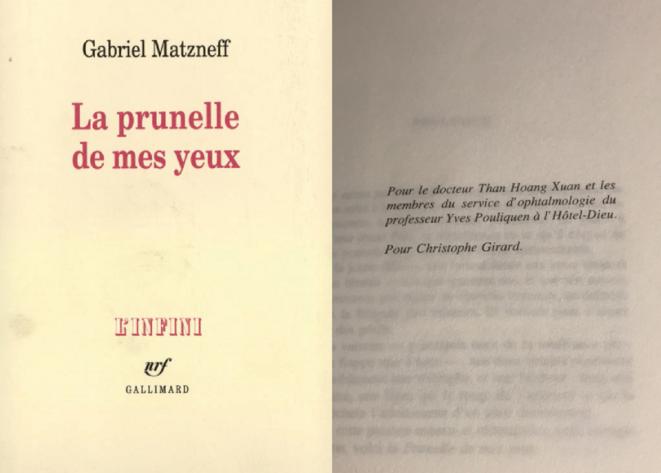 La dédicace à Christophe Girard de « La prunelle de mes yeux », le tome du journal de Gabriel Matzneff consacré à Vanessa Springora. © DR