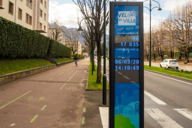 17 035 cyclistes depuis le début de l'année, borne installée fin février 2020. Relevé du 6 mars 2020 à 14h10. © plbillot