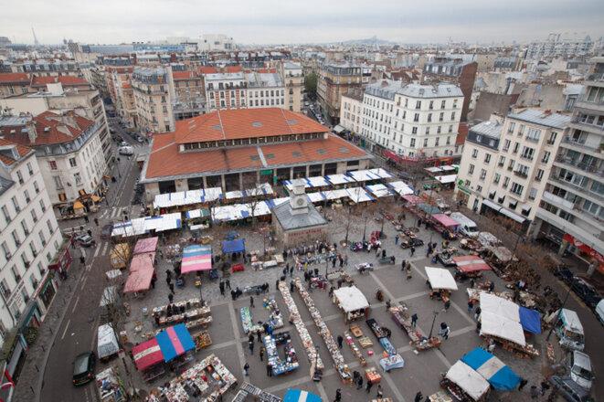 Vue aérienne du marché d'Aligre. © Jean-Baptiste Gurliat / Mairie de Paris