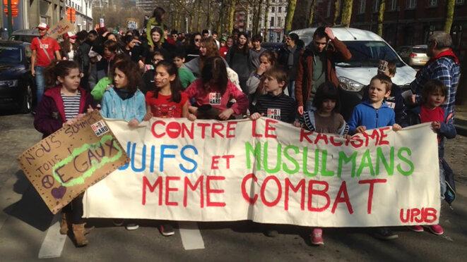 Bruxelles, 24 mars 2018. Les jeunes de l'Union desprogressistes juifs de Belgique manifestent.