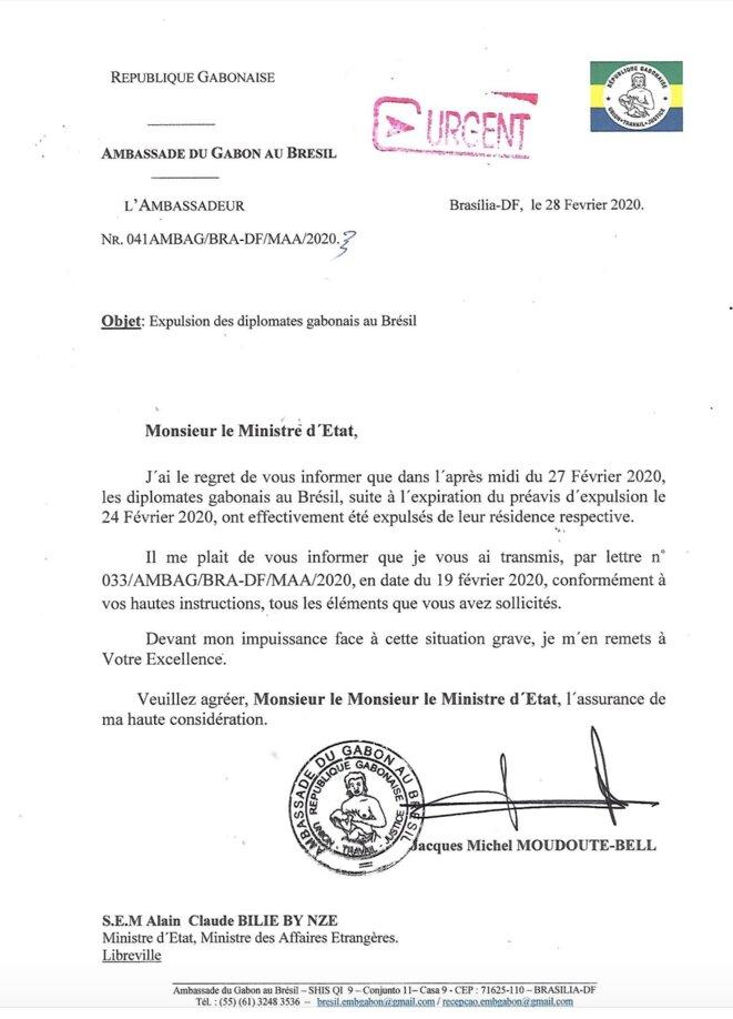 Février 2020-Document officiel concernant l'expulsion des diplomates Gabonais se trouvant au Brésil.