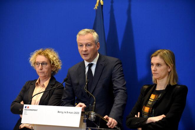 Bruno Le Maire, Agnès Pannier-Runacher, Muriel Pénicaud. © AFP