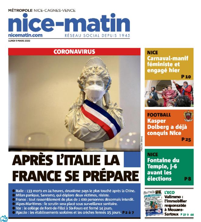 "La ""Une"" de Nice-Matin ce lundi 9 mars 2020 © Nice-Matin"