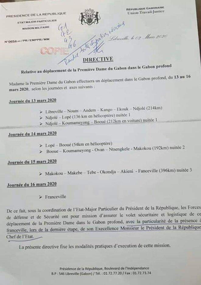 Note concernant la tournée de l'épouse du Président Ali BONGO ONDIMBA dans le Gabon profond-13 au 16 mars 2020