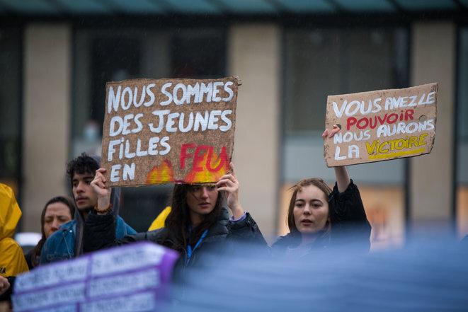 Durante la manifestación del 8 de marzo de 2020 en París. © Lola Loubet Hans Lucas