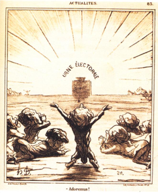 """Honoré Daumier, """"Adoremus"""" in Le Charivari (1879)"""