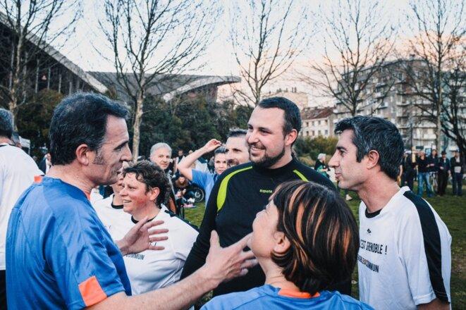 Éric Piolle avec François Ruffin à Grenoble, le 11 mars. © DR