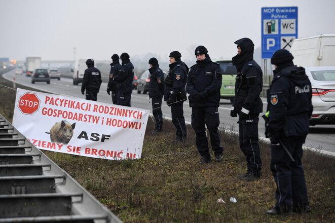 Des agriculteurs polonais bloquent l'autoroute A2 pour protester contre les mesures de leur gouvernement contre la PPA, DÉC. 2018; Crédits: RMF24