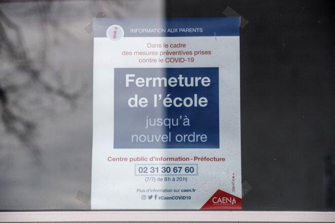 Une école fermée à Caen le 16 mars 2020. © Sameer Al-Doumy/AFP