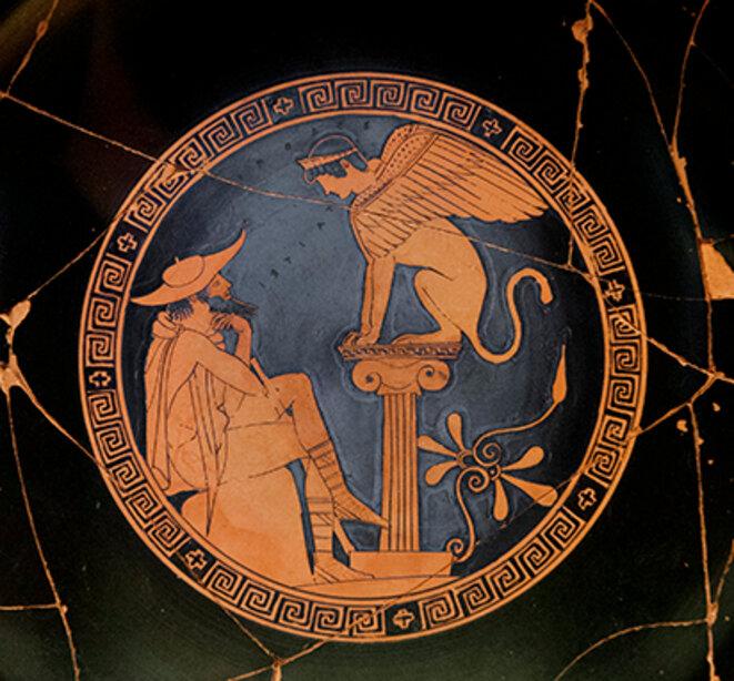 Oedipe et le Sphinx - Médaillon d'un kylix attique à figures rouges, 480-470 av. J.-C
