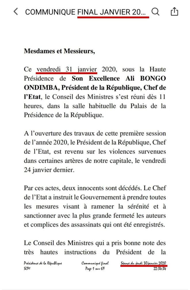 31 JANVIER 2020 - GABON COMPTE RENDU FINAL DU CONSEIL DES MINISTRES