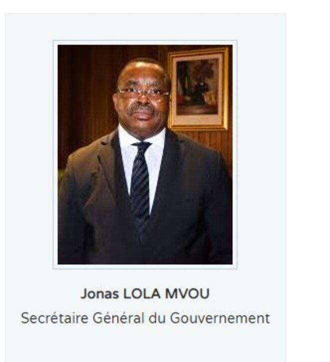 Jonas LOLA MVOU, Secrétaire général du Gouvernement