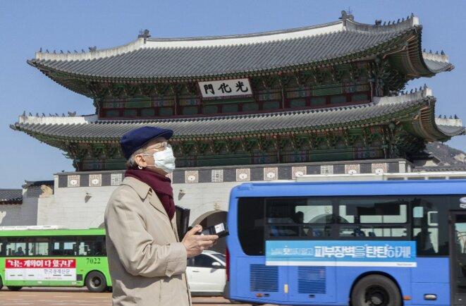 À Séoul le 16 mars 2020. © Jong-Hyun Kim/Anadolu Agency
