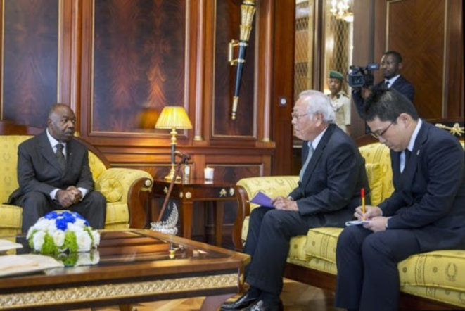 Gabon | Palais de la présidence de la République | Audience accordé par le Chef de l'Etat Gabonais à S.E.M. Masaaki Sato