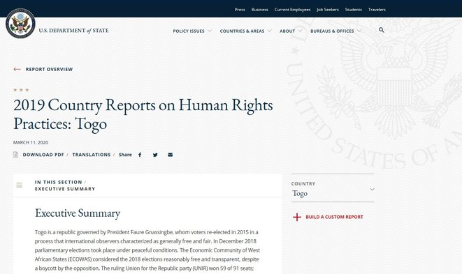 US Department of State, 2019, Country Reports on Human Rights, Practices Togo