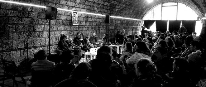 Rencontres de Pratiques Brutes de la musique JOUR 1 table ronde avec Ophélie Lefèbvre, Ombline Ley, Caroline Capelle, Bastien Gournay et Jean-Claude Senocq © Olivier Brisson