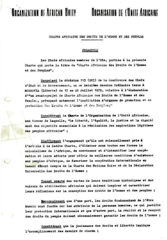 Charte Africaine des Droits de l'homme et des peuples, adoptée à Nairobi au Kenya, en juin 1961 par la dix-huitième conférence des Chefs d'Etat et de gouvernement de l'Organisation de l'Unité Africaine