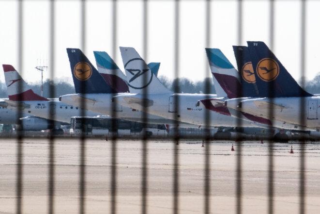 Avions parqués à l'aéroport de Düsseldorf. © Federico Gambarini / DPA