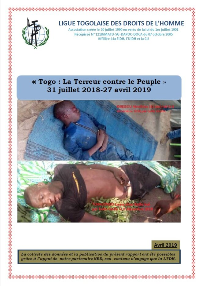 Togo, Rapport LTDH 2019, « Togo La Terreur contre le Peuple - 31 juillet 2018 - 27 avril 2019» Publie le 22 mai 2019
