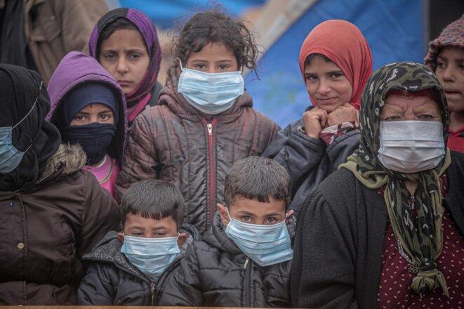 Des enfants à Idlib le 18 mars 2020. © Muhammed Said /Anadolu Agency/AFP