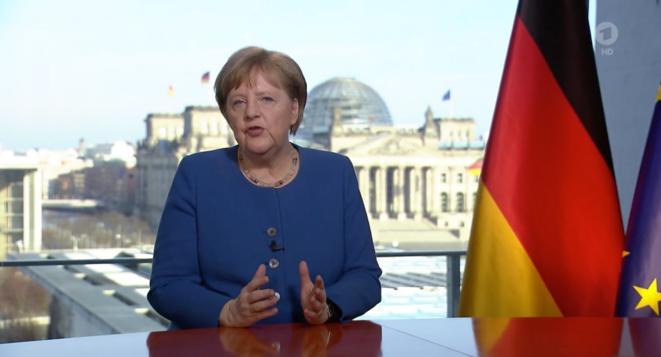 Angela Merkel est intervenue mercredi soir à la télévision. © Capture d'écran