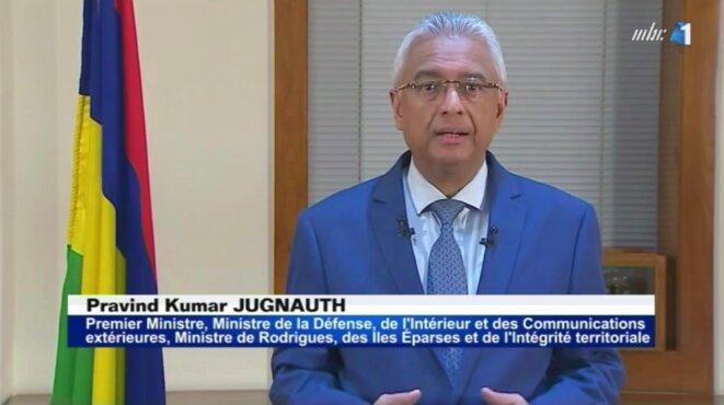 Le Premier ministre mauricien, lors de son allocution télévisée, le 19 mars 2020. © MBC-TV