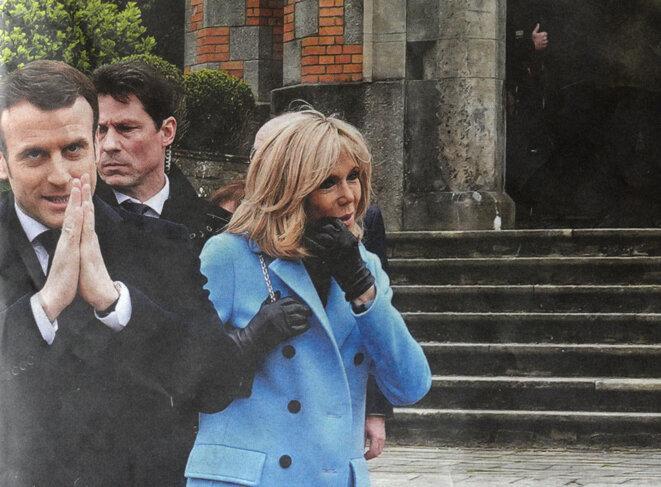 Emmanuel et Brigitta Macron, Dimanche 15 mars 2020 (photo de photo) © Francis Petit Abaca Press