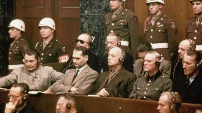 The defendants at the Nuremberg trials. Front row (l to r): Hermann Goering, Rudolf Hess, Joachim Von Ribbentrop, Wilhelm Keitel and Ernst Kaltenbrunner. Back row (l tor): Karl Doenitz, Erich Raeder, Baldur von Schirach and Fritz Sauckel © Bettmann