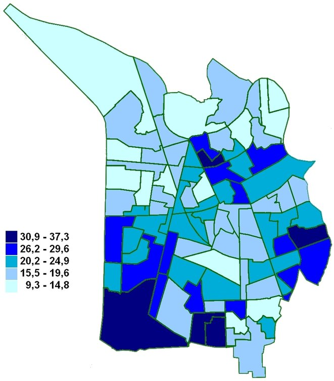 Carte du vote Carignon au 1er tour des élections municipales à Grenoble, par bureau de vote
