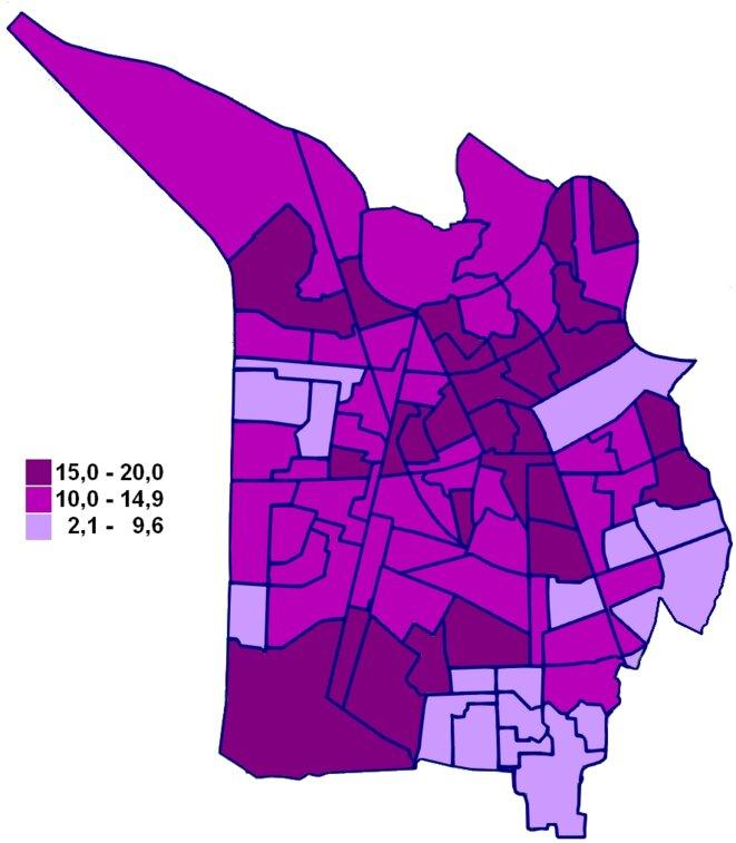 Carte du vote Chalas (LREM) au 1er tour des élections municipales à Grenoble, par bureau de vote