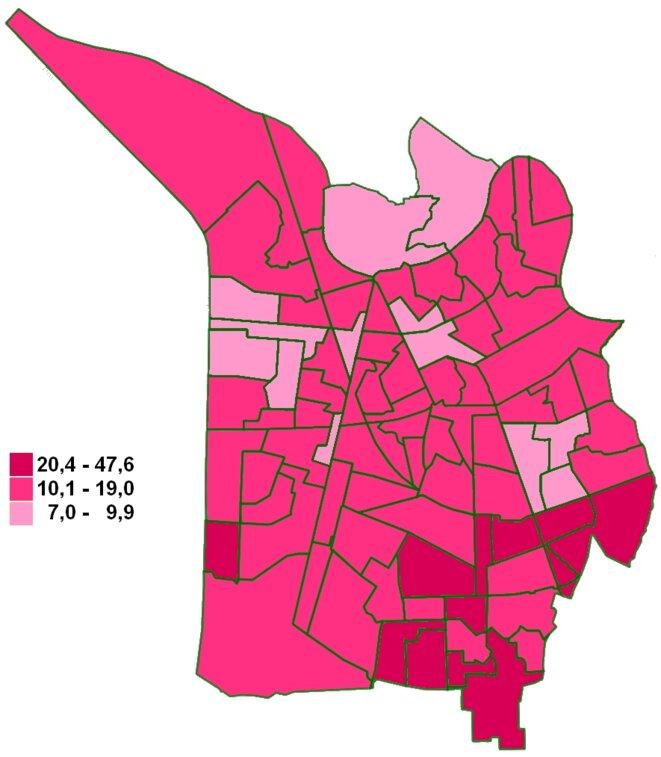 Carte du vote Noblecourt (PS) au 1er tour des élections municipales à Grenoble, par bureau de vote