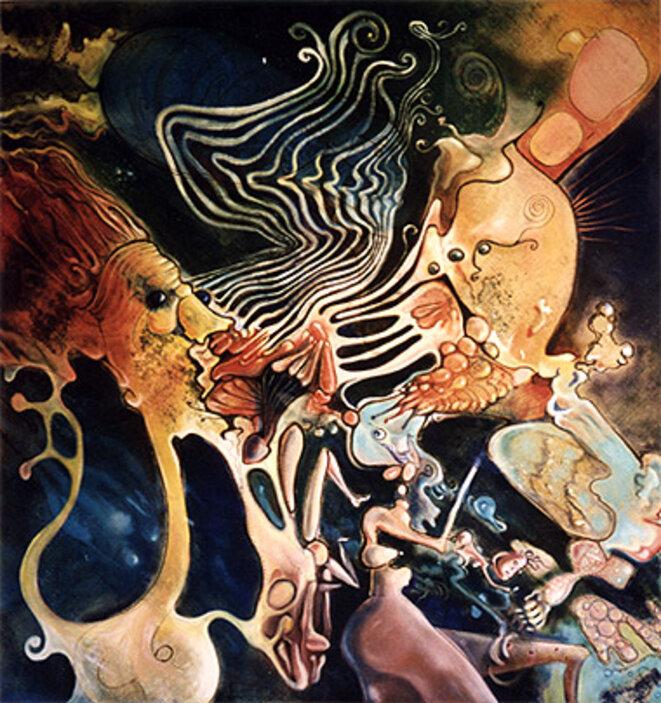 Le Baiser - 1994 - Huile sur toile . 131 X 131 cm © Laurent GAIGNEBET