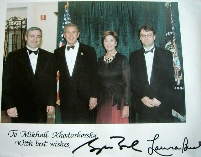 Russian oligarch Mikhail Khodorkovsky with U.S. President George W. Bush and the First Lady