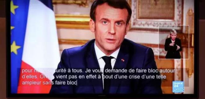 Emmanuel Macron lors de son allocution lundi 16 mars 2020