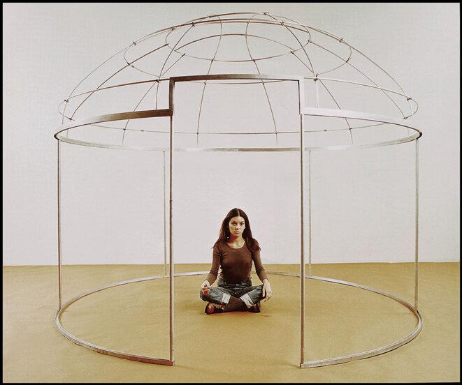 Nil Yalter, Topak Ev (Nomad's Tent), 1973, felt, sheepskin, marker, aluminium, dimensions variable. © Courtesy the artist and santralistanbul Collection
