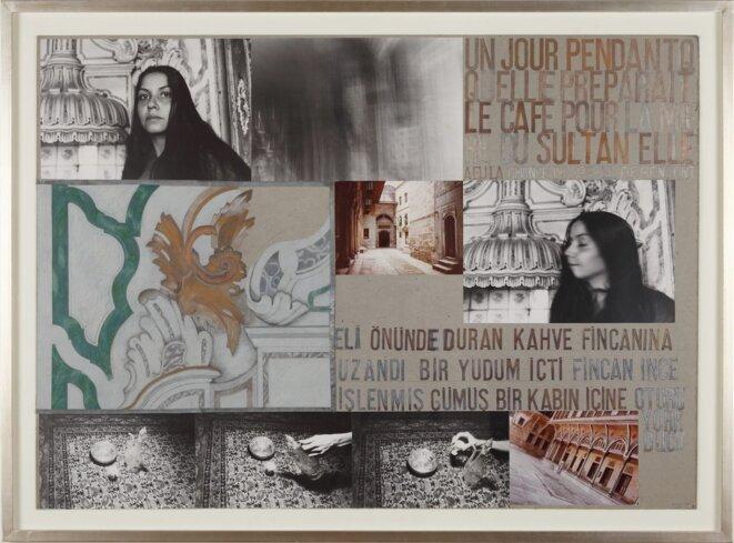 Nil Yalter, Harem, 1979, vidéo noir et blanc, 45', collage avec photographies et dessins, 120 x 80 cm © Courtesy Nil Yalter.