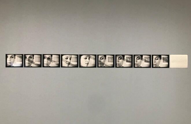 """Nil Yalter, Artistes Propaganda, 1978, photographies et texte contrecollés sur carton, vidéo numérisée, couleur, son, durée 3'15"""" © Guillaume Lasserre"""