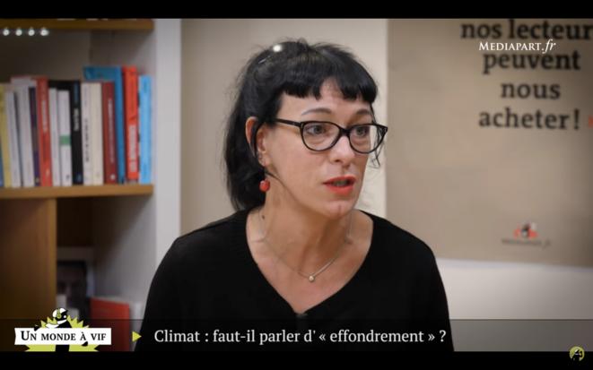 Corinne Morel Darleux sur le plateau de Mediapart, en 2018. © Mediapart